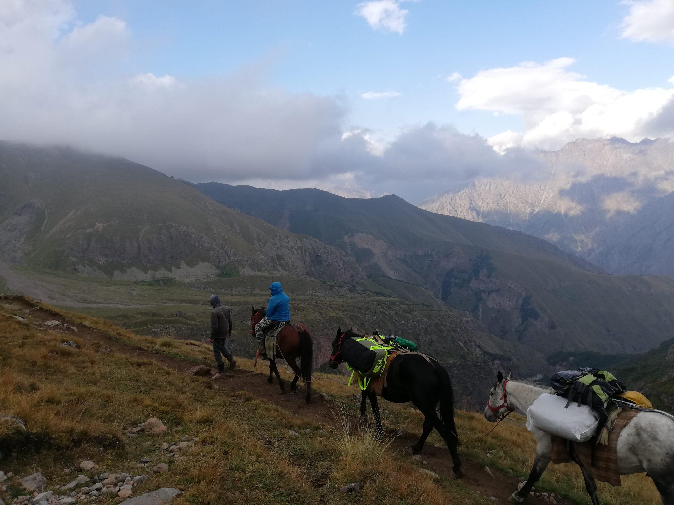 Konie na zejsciu z Kazbeku